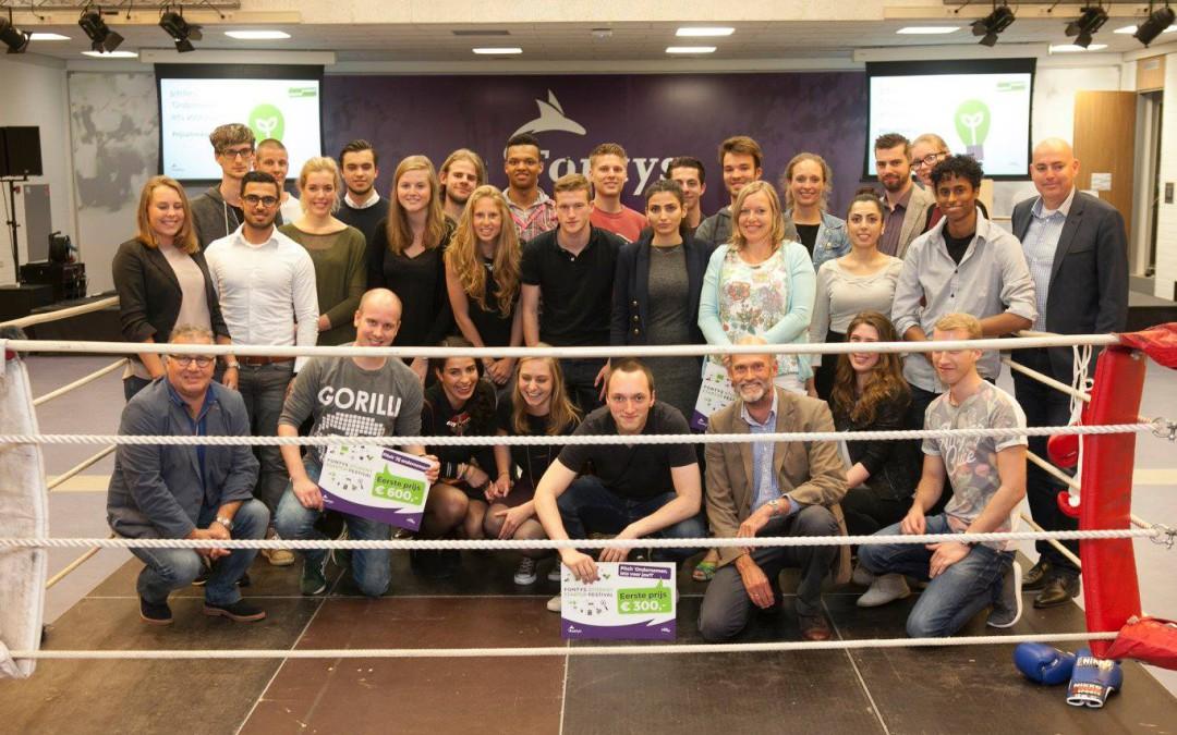 Pitchen in de boksring tijdens Fontys Student Startup Festival